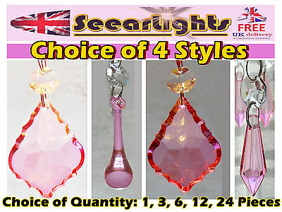 Cut Glass Crystals Droplets Hot Light Pink Drops Antique Quality Shape Prisms Bn