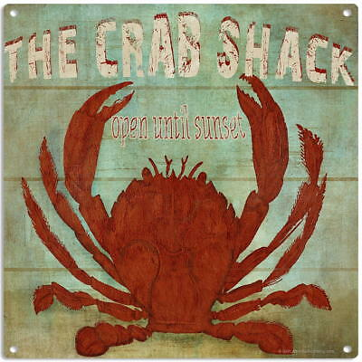 Crab Shack Restaurant Rustic Metal Sign Seafood Kitchen Decor 12 x 16