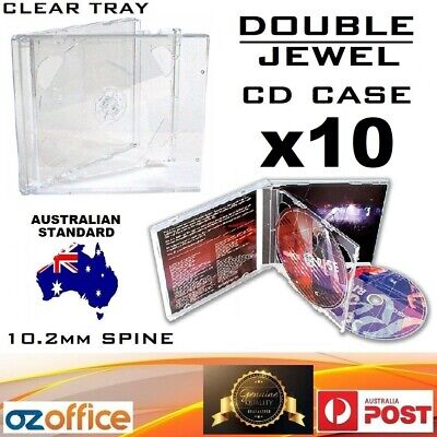 PREMIUM 10 x DOUBLE Jewel CD Case - Australian Standard Size Clear Tray CD Case