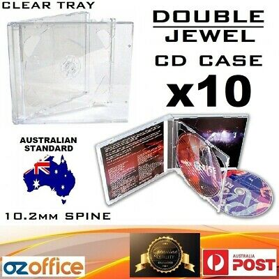 Premium 10 x DOUBLE Jewel CD Case Standard Size Clear CD Case with Clear Tray