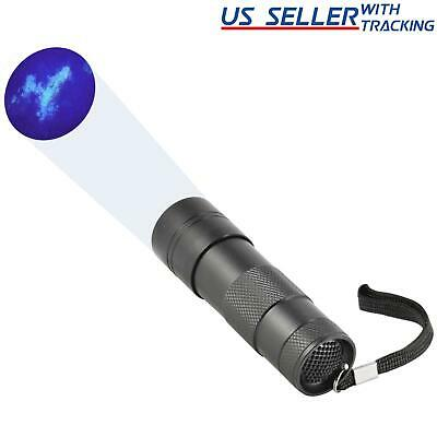 UV Blacklight Flashlight 12 LED 395 nM Ultra Violet for Scorpion Hunting, Black