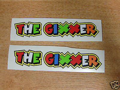 "Valentino Rossi style text - ""THE GIXXER""  x2 stickers / decals  - 5in x 1in"