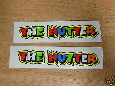 """Valentino Rossi style text - """"THE NUTTER""""  x2 stickers / decals  - 5in x 1in"""