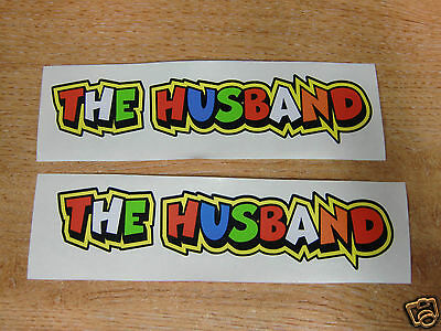 "Valentino Rossi style text - ""THE HUSBAND""  x2 stickers / decals  - 5in x 1in"