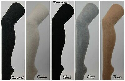 Girls Women Wool Over Knee Winter Warm Socks Thigh-Highs Stockings Cable Knit UK