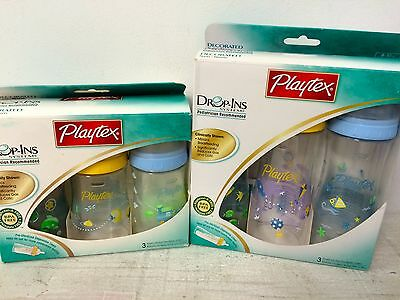 New Playtex Premium Decorated Nurser Drop In Bottles Discontinued Slow Nipples