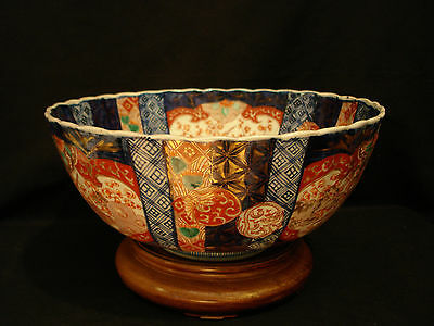 "12 1/4"" D Japanese Meiji Imari Scalloped Deep Bowl With Rosewood Wood Stand"