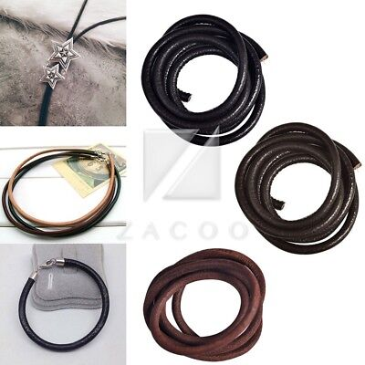 1m Leather Cord Real Wire Thong Round Thread Bracelet Jewellery Making 4/5/6mm