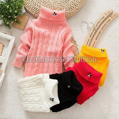 Baby Boy Girls Sweater Children Kids Pullover Knitting Turtleneck Warm Outerwear
