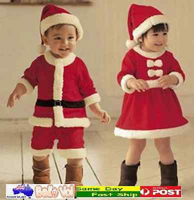 Girls Boys Children Kids Christmas Costume Gift Sets Outfit Toddlers Santa Claus