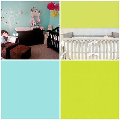 Pale Teal / Lime Plain - Baby Nursery Wallpaper - Cheerful Bright Baby Room