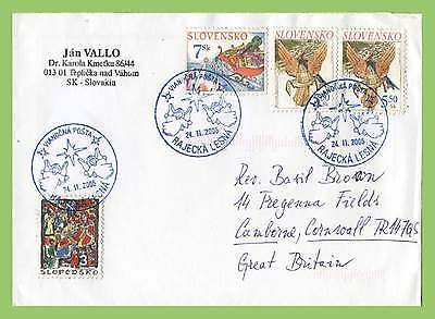 Slovakia 2005 Christmas stamps on cover, special postmark