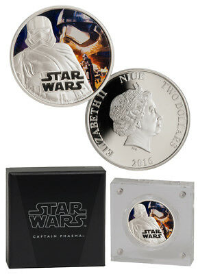 Star Wars: Force Awakens Phasma 2016 Niue $2 1 oz Proof Silver In OGP SKU38042