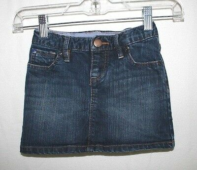 Gap Kids Girls Size 5 Cotton Stretch Adjustable Waist Blue Denim Jean Skirt