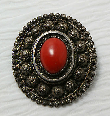 Antique .830 Silver & Red Coral Brooch / Pendant