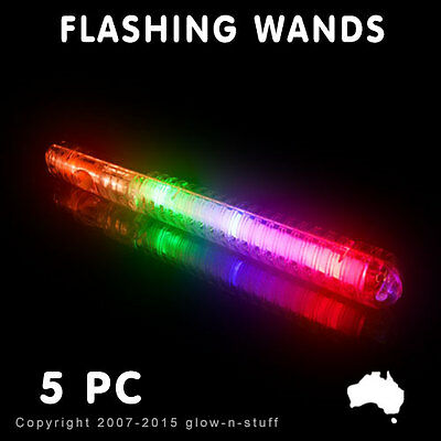 5 x FLASHING WANDS LIGHT UP GLOW MULTI COLOUR LED STICKS PARTY SCHOOL DISCO