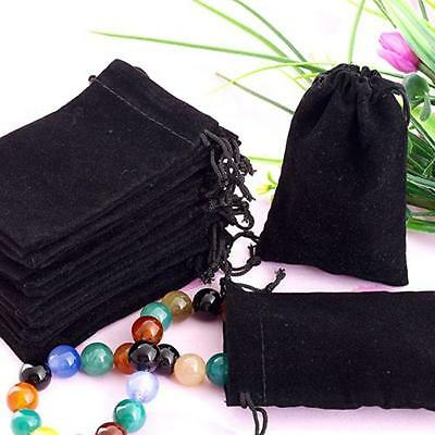 75X Black Velvet Drawstring Jewelry Gift Bags Pouches HOT