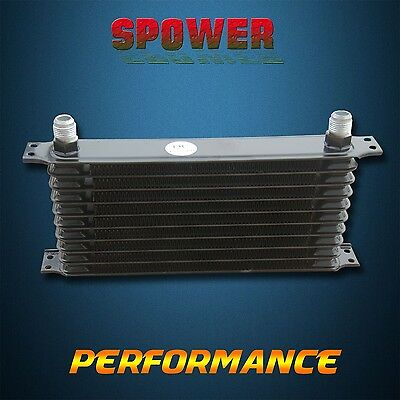 Universal10 Row AN10 Engine Transmission Aluminum Oil Cooler Trust Style Black