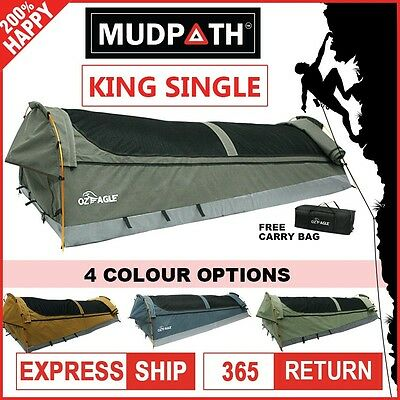 OzEagle King Single Swag Canvas Fishing Camping 3 Hoops 210cmX90cm