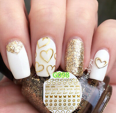 3D Nail Art Stickers Metal Summer Style Gold Gilding Starfish Transfer Decals