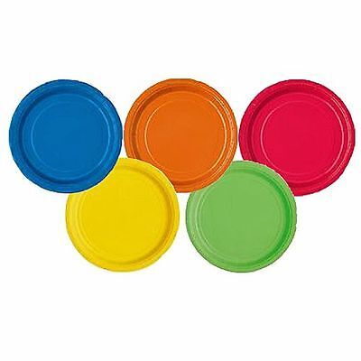 "20 x Red Green Pink Black Orange Blue Purple Gold Party Food 7"" Paper Plates"