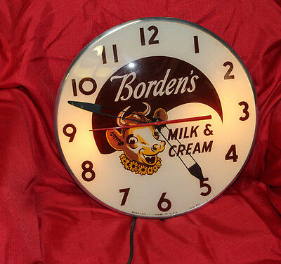1950s BORDENS Elsie Light-Up Advertising Pam Glass Bubble Clock 15""