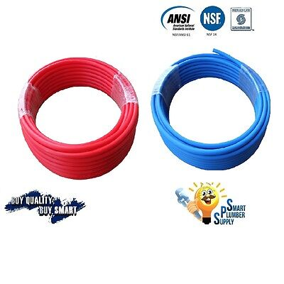 """2 ROLLS of 3/4"""" X 100' PEX TUBING RED+ BLUE FOR WR SUPPLY w/25 YEARS WARRANTY"""