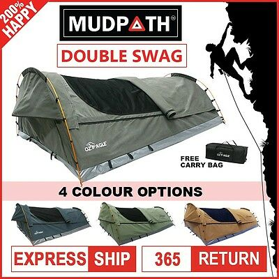 OzEagle Double Swag Canvas 4x4 Fishing Camping Fishing 3 Hoops 210cmX145cm