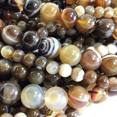 """Natural Brown Stripe Agate Smooth Spacer Loose Round Beads 15"""" 6mm 8mm 10mm 12"""