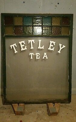 Stained Glass Antique Tetley Tea Window Good Condition