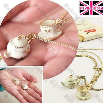 "VINTAGE STYLE TEA PARTY teapot CUP&SAUCER 40""long chain NECKLACE antique gold pl"