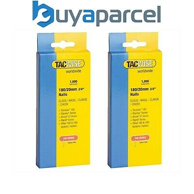 """Tacwise 180 Series Nails 20mm (3/4"""") Galvanised Box Of 1000 Brads Nail Twin Pack"""