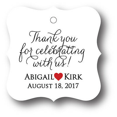 48 Thank you for celebrating with us! Personalized Wedding Favor Tag