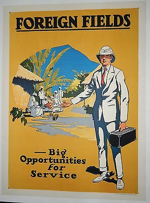 Original WWI US Join the Foreign Fields Service  Recruiting Poster Mint Linen
