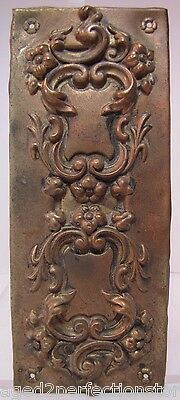 Antique Door Push Plate ornate high relief flowers vines scrollwork thin brass