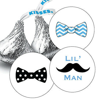 d7dd4e19bc4 ... 108 Baby Boy Lil  Man Hershey Kiss Labels Stickers Favors Baby Shower  Bow Tie 3