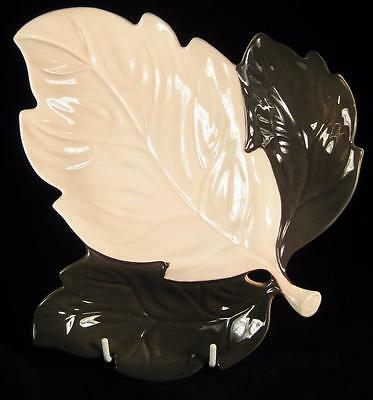 Carlton Ware Pink & Brown Large Handpainted Leaf-Shaped Divided Footed Dish