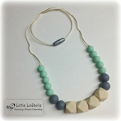 Silicone Necklace Teether Teething Nursing Mint Gray Beige Baby Shower Gift