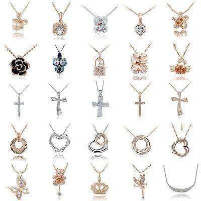 Women Crystal 18K Gold Pendant Necklace 925 Sterling Silver Plated Chain Jewelry