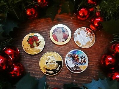 Large 24K Gold plated Silver Wishing Coins CHRISTMAS santa stocking filler Gift