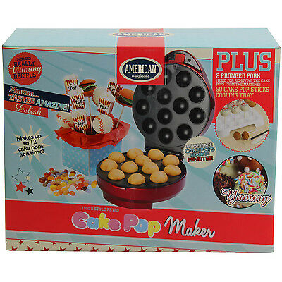 American Originals Electric 12 Cake Pop Maker Red Non Stick Coating Home Bake