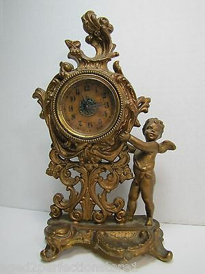 Antique Art Nouveau Cherub Clock old gold ornate dtl Pittsburgh Lamp & Brass Co