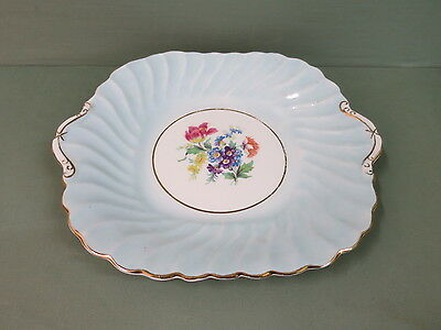 Vintage Aynsley Cake Plate - pale blue / turquoise