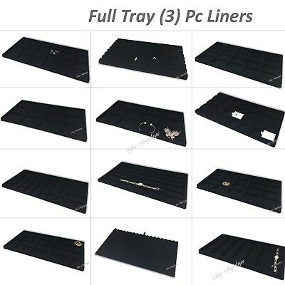 Lot Of (3) Jewelry Tray Liners Black Flocked Tray Inserts  Jewelry Displays