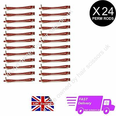 24 X Perming Rod Rollers Perm Curlers Professional Size SMALL BRICK RED free P&P
