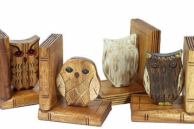 Wooden Owl Bookends hand carved Acacia Wood. Various designs