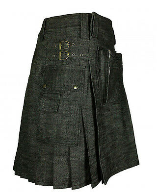 Denim Black front Carrier pocket work man utility kilt