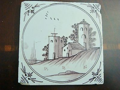 18th century salvaged Delft manganese tile with depictions of country buildings