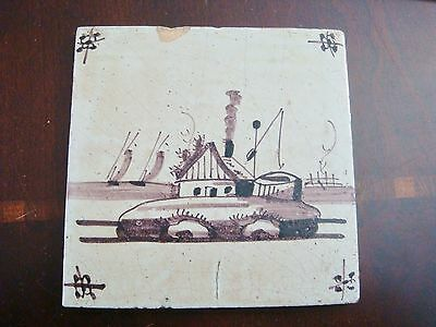 18th century salvaged Delft manganese tile depicting buildings in seashore