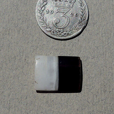 a 13mm x 10mm tabular ancient agate stone bead with 2 holes west asia #681